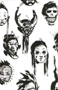 Various disturbing masks hang on a wall. One mask resembles Pinhead from Hellraiser, the film based on Clive Barker's novella The Hellbound Heart.