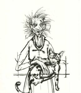 A black illustration of a haggard-looking woman in a dress holding an angry-looking cat.
