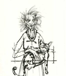 Mrs. Griffin, the housekeeper at Holiday House, holds one of her beloved cats. - The Thief of Always by Clive Barker