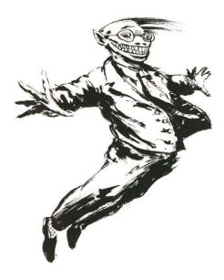 An illustration of a man wearing glasses and a suit with a wide, disturbing grin. He is blown forward by the wind.
