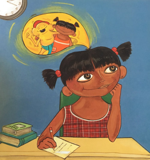 Anu has brown skin and black hair in pigtails. She wears a red plaid dress and sits at her school desk. A thought bubble shows Anu and a monkey ghost smiling, laughing, and putting their arms around each other.