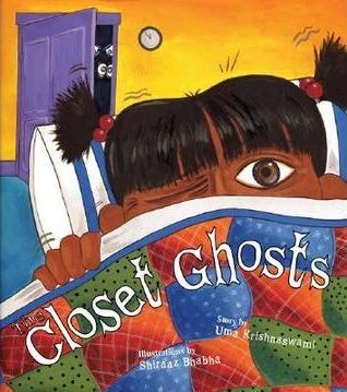 A young girl with brown skin and brown eyes peeks out from underneath a green, orange, and blue quilt. In the background a purple closet door opens with eyes peering out of the darkness.