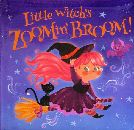"A tiny witch with brown skin and pink hair rides a broom with her black cat behind her. A bat flies next to her against a bluish-purple background with stars. All of them are smiling. Orange text: ""Little Witch's Zoomin' Broom!"""