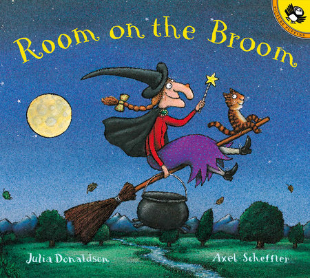 "A smiling witch with white skin holds a wand and a cauldron. She wears a black hat and cape, a red shirt, and a purple skirt. A smiling orange and black cat rides in front of her. The background is green woods, a blue night sky, and a yellow moon. Text: ""Room on the Broom. Julia Donaldson. Axel Scheffler."""