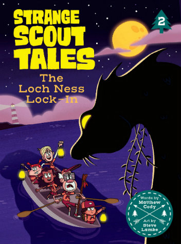 Four scouts and a scout-master ride in a paddleboat in the middle of a dark blue lake at night. The Loch Ness Monster looks down on them in silhouette.