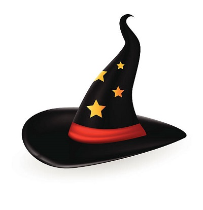 A black witch's hat against a white background, with yellow stars on the top of the hat and a red band.
