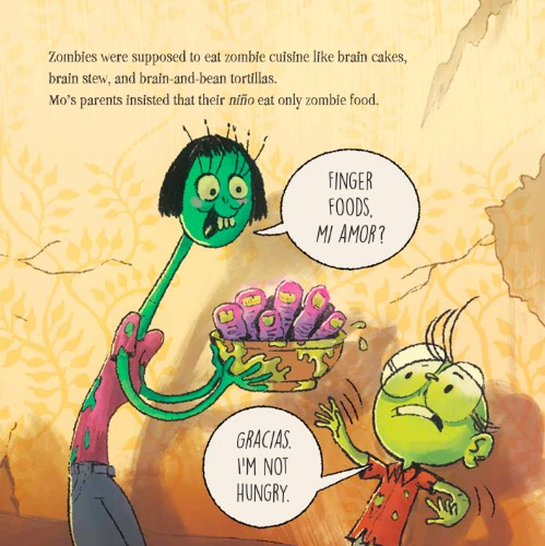 A bright green zombie mom with a long neck and short black hair offers a bowl full of gooey human fingers to her son, a short zombie with large round glasses and light green skin. The background is faded and torn floral yellow wallpaper.