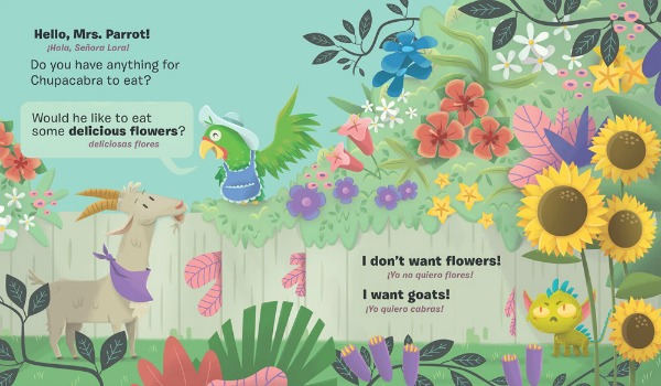 A young brownish-grey goat with a purple bandana speaks to a smiling green parrot wearing an apron and a sun hat. They stand in a beautiful garden filled with colorful flowers. A tiny green chupacabra sits underneath the flowers and looks upset, because he wants to eat a goat but Goat and Mrs. Parrot suggest that he eat some flowers instead.