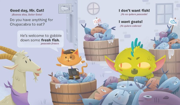 A young brownish-grey goat with a purple bandana speaks to a smiling orange cat wearing a hat and business clothes. They stand in a fish market filled with barrels of fresh fish. A tiny green chupacabra climbs on top of some fish and looks upset, because he wants to eat a goat but Goat and Mr. Cat suggest that he eat some fish instead.