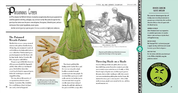 "A two-page spread titled ""Poisonous Green."" Images include a photo of a light green ball gown, illustrations of light-skinned hands affected by arsenic poisoning, and a drawing entitled ""The Arsenic Waltz"" showing a skeleton in a tuxedo bowing in front of a skeleton in a ball gown."