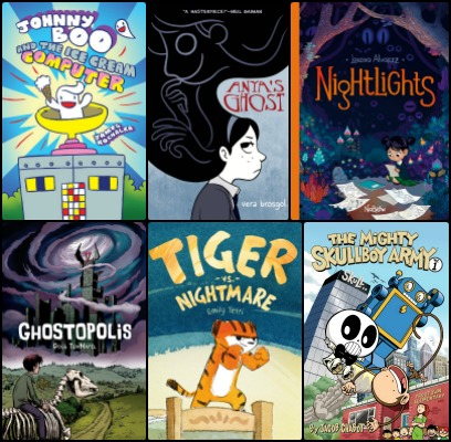 Six graphic novel covers in a collage with a black background: Johnny Boo and the Ice Cream Computer, Anya's Ghost, Nightlights, Ghostopolis, Tiger vs. Nightmare, and The Mighty Skullboy Army.