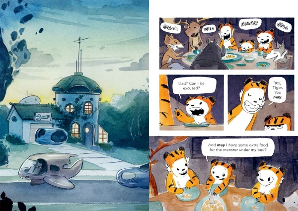 Two comic book pages. Left: The outside of a futuristic green and blue house with antennae on top of a domed roof. Rounded hover cars with fins float along the road in front of the house. Right: Tiger's family eats a meal at the dinner table with other adult animal friends: a deer, a fox, a rhino, and a wolf. Tiger asks to be excused from the table and asks for a plate of food for the monster under her bed.