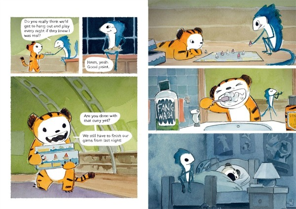 Two comic book pages. Left: Monster eats the food Tiger got from the dinner table, and Tiger gets a board game out for them to play. Right: three panels, top to bottom, show: (1) Tiger and Monster playing the board game in deep concentration; (2) Tiger brushing her fangs while Monster stretches in the background; and (3) Tiger snoring in bed with the lights out as Monster sits on the edge of the bed and watches over her.