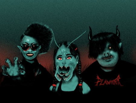 Image: from left to right, Axe, Weta, and Toro stand in front of a red, black, and bluish-green landscape. Axe wears dark sunglasses and raises a clawed hand. Weta has fanged mandibles and antennae. Toro has horns and a septum ring.