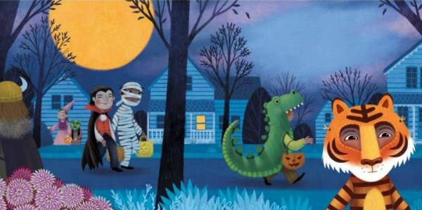 A bright orange moon shines over a neighborhood street as children in Halloween costumes go trick-or-treating. Tomás is dressed as a tiger and stands alone at the bottom right corner of the page.