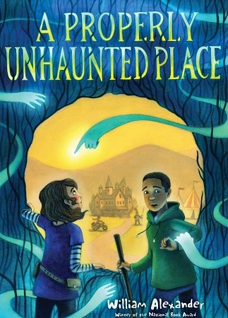 Image: A girl and a boy, both with light brown skin and dark brown hair, gaze at ghostly blue arms and stand in front of a circular yellow portal.