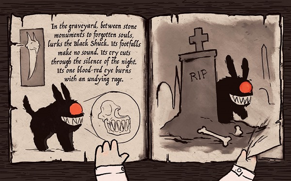 Image: A young boy's pale hands hold open a tattered book that shows pictures and includes a description of the Black Shuck, a dog-like creature with one glowing red eye.
