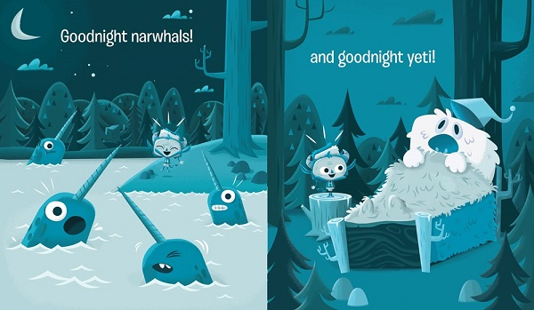 "Image: In two nighttime scenes illustrated in shades of blue, Krampus shouts happily at four narwhals in water and a Yeti in a bed in the forest. Text: ""Goodnight narwhals! and goodnight yeti!"""
