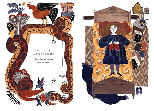 "Image: Two illustrations. Left: A snake curls around text that reads, ""How does a story begin? Sometimes it begins with a dream."" Right: A young girl with white skin and auburn hair wears a blue dress and lies on a bed holding a book."
