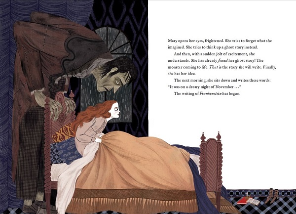 Image: An illustration of a young woman with white skin and auburn hair sitting up in bed with wide eyes. A giant monster with green skin bends over the headboard and looks at her.