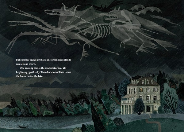Image: An illustration of a grey house sitting in a dark wooded area next to a lake. The sky is black with white cloudy monsters in it.