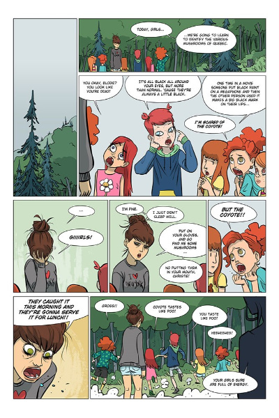 Image: Eight comic panels show Élodie trying to convince the redheads to walk through the woods to learn about mushrooms.