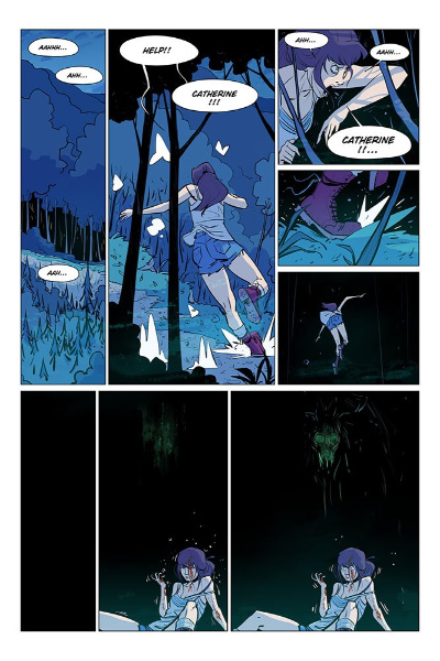 Image: Eight comic panels show Élodie running through the forest at night to escape an eerie presence.