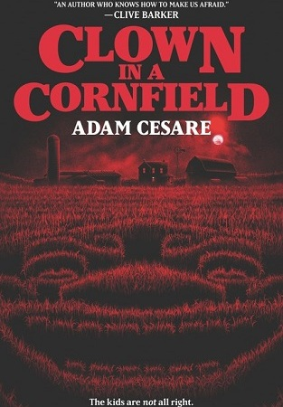 Image: Black and red illustration of a cornfield at night, with the rows of corn forming the shape of a malicious clown's face.