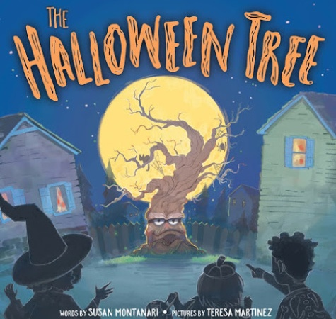 Image: A gnarled brown tree sits in front of a full yellow moon. Houses sit on either side of the tree. Silhouetted trick-or-treaters point at the tree in wonder.