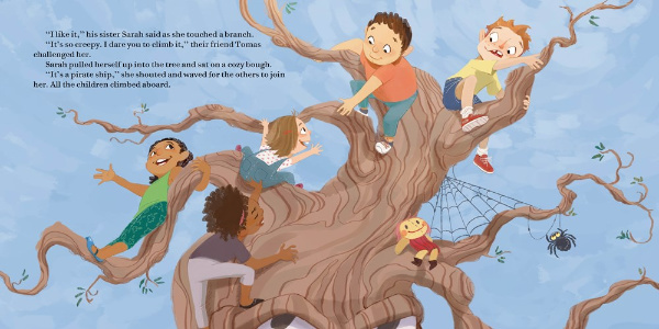 Image: Five children play in the boughs of a gnarled brown tree against a light blue sky.