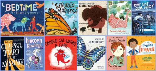 Image: Collage of book covers with a periwinkle border. Books shown, clockwise from top left: Bedtime for Sweet Creatures; Señorita Mariposa; Mom Loves Little Jumbo; Patience, Miyuki; This Was Our Pact; Dazzling Travis; David Bowie; How to Be a Butterfly; Doodle Cat Wears a Cape; Unicorn Bowling; and Chapter Two Is Missing!