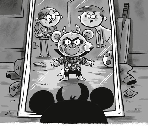 Image: A black-and-white illustration of a demonic teddy bear with fangs, claws, horns, and sunken eyes and cheeks looking at himself in a mirror while two shocked children look on from behind.