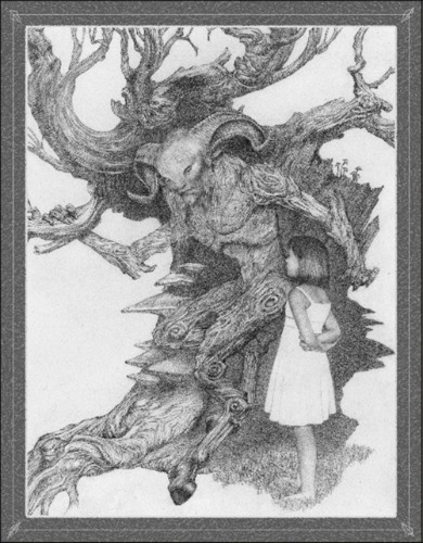 Image: A black-and-white illustration of a faun, whose skin seems to be made of bark, standing in front of an old, gnarled tree as he speaks to a young girl wearing a white dress.