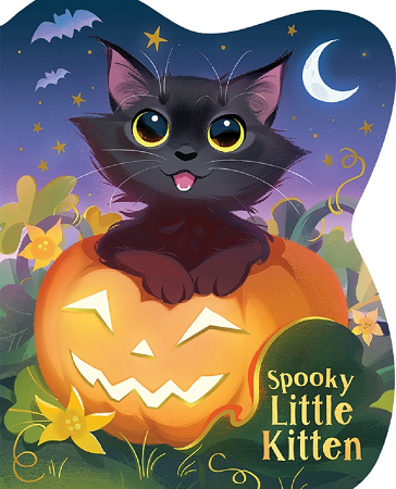 "Image: A black cat sits in a smiling jack-o-lantern, looking up and smiling happily. Behind the kitten is a pumpkin patch and a night sky with bats, stars, and a crescent moon. Text: ""Spooky Little Kitten."""