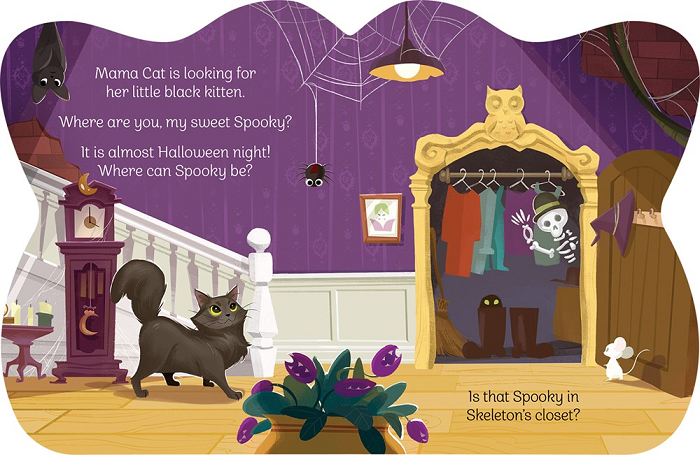 Image: A black cat walks through a spooky house with cobwebs on the walls and bats hanging from the ceiling. A friendly white skeleton wearing a bowler hat smiles and waves from inside an open closet.