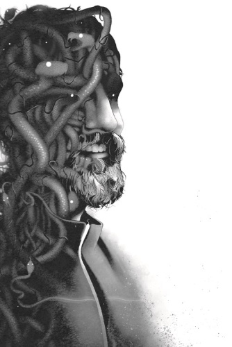 Image: A black-and-white illustration shows a man in half profile; part of his body seems to be made up entirely of snakes with glowing eyes.