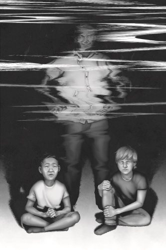 Image: A black-and-white illustration shows two boys sitting down with the light from a TV screen illuminating them from the front. A man stands behind them; the top half of his body is distorted like a staticky VHS tape.