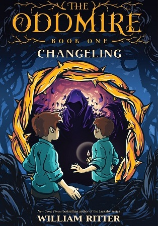 "Image: Two boys with identical clothes, pale skin, and light brown hair face a shadowy hooded figure in a pile of brambles. Text: ""The Oddmire, Book One: Changeling. William Ritter."""