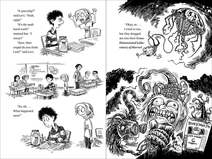 "Image: Two pages of text and black-and-white illustrations. On the left, a boy and a girl have a discussion in a classroom. On the right, the girl recounts a tale of alien abduction: she is shown being captured by a robot with tentacles and then grimacing as the ""Brain Scanner Pro"" is attached to her head and downloads her mind."