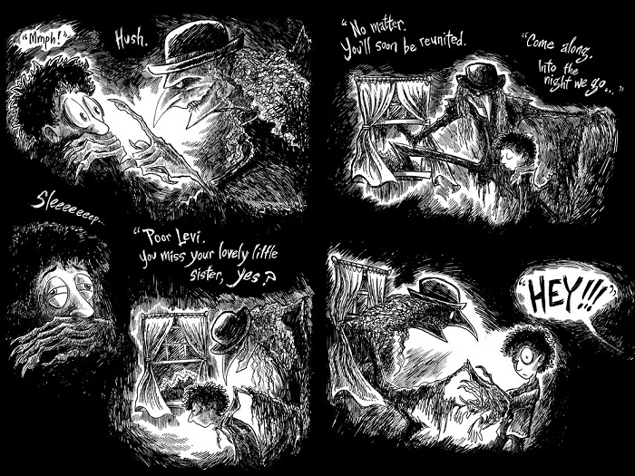 "Image: Two pages of black-and-white illustrations with text. The background is deep black. A tall, gangly figure with sharp teeth and sharp fingernails tries to lead a boy out his bedroom window, until they are interrupted by someone unseen yelling, ""HEY!!!"""