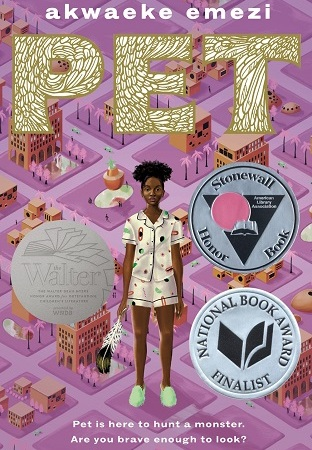 Image: A teen girl with dark brown skin and black hair wears pajamas and slippers and holds a large feather. Behind her is a purple, futuristic cityscape in square grids.